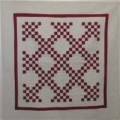 Antique HandStitched Red  White Cotton Quilt