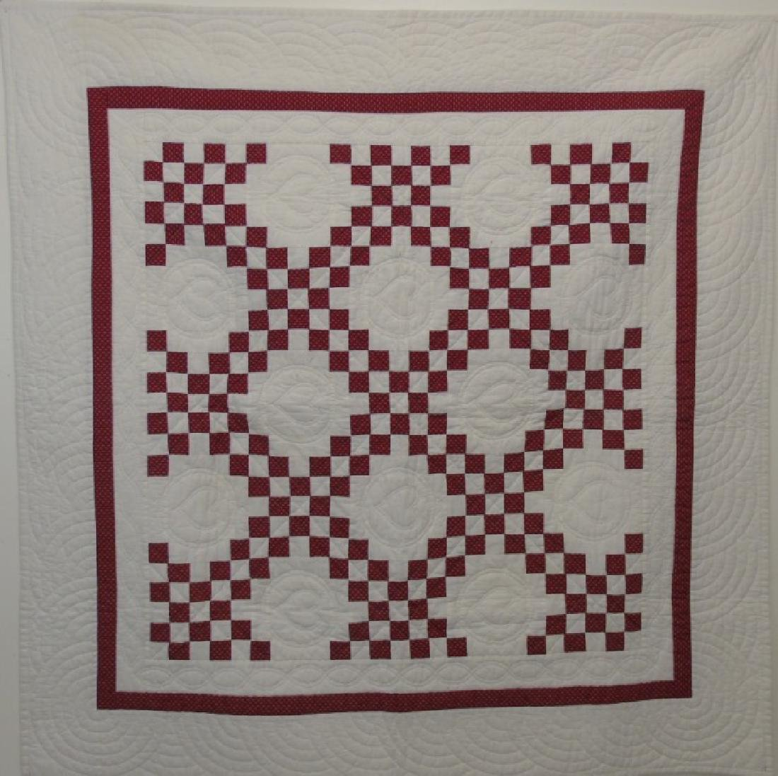 Antique Hand-Stitched Red & White Cotton Quilt