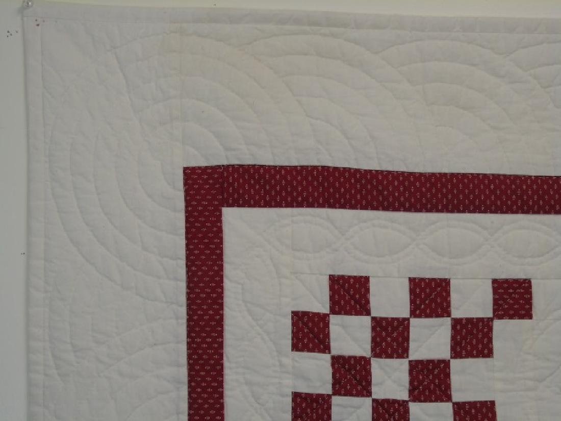 Antique Hand-Stitched Red & White Cotton Quilt - 2
