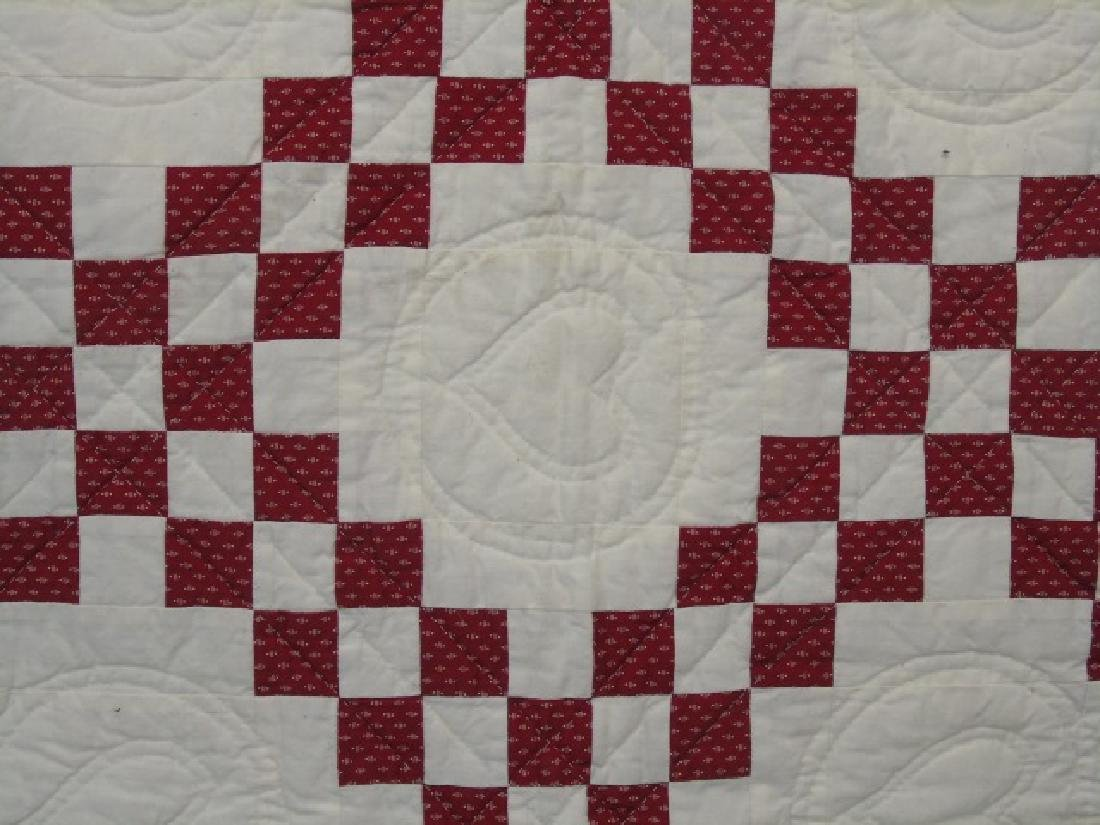 Antique Hand-Stitched Red & White Cotton Quilt - 3