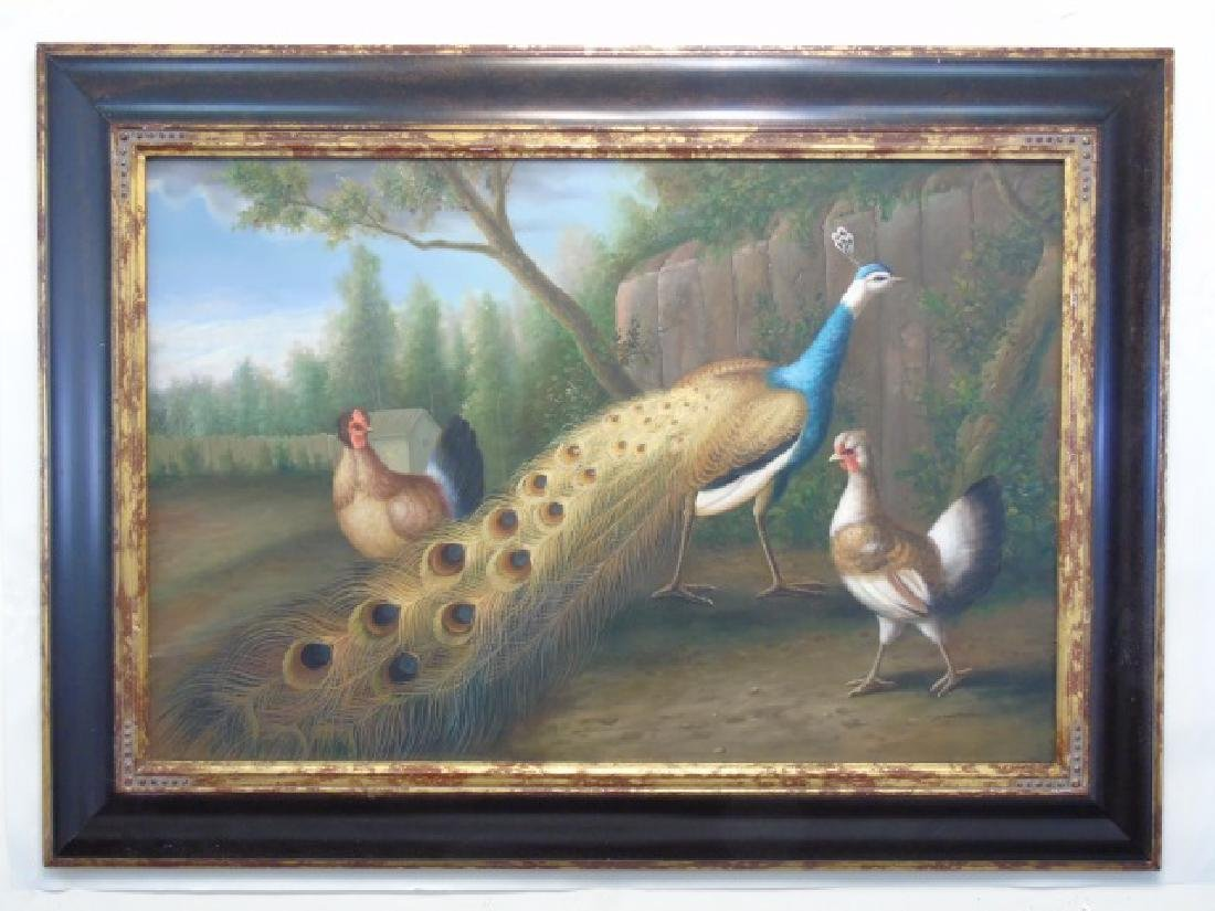 Old Master Style Painting of Peacock & Chickens