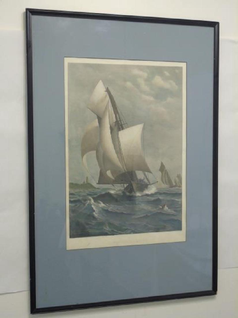 "J Davidson - Signed Framed Print ""A Winning Yacht"""