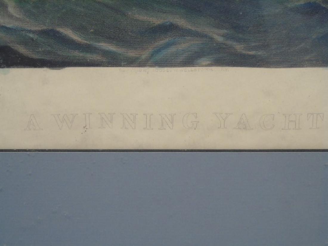 "J Davidson - Signed Framed Print ""A Winning Yacht"" - 3"