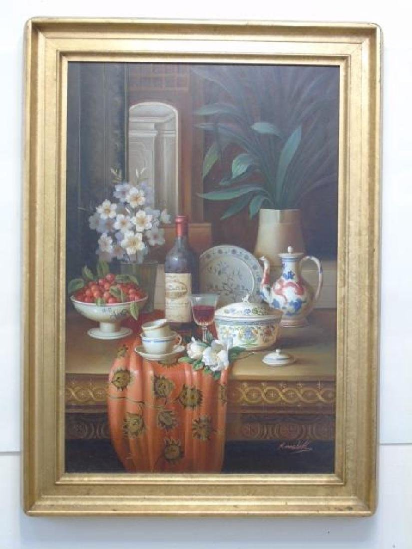 M Marshall - Large Framed Still Life Painting