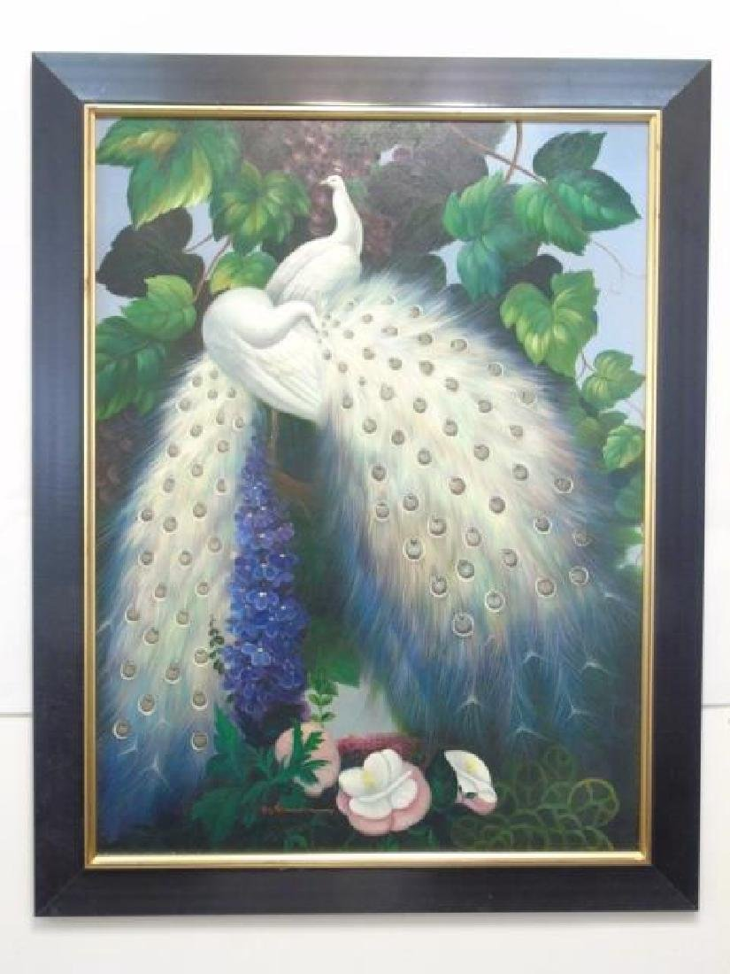 B Vouman - Large Painting of Two White Peacocks