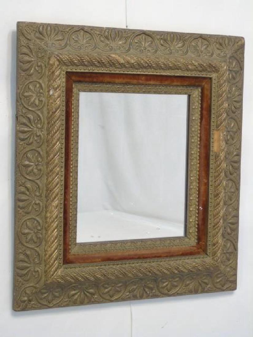 Antique 19th C Victorian Gold Leaf & Velvet Mirror