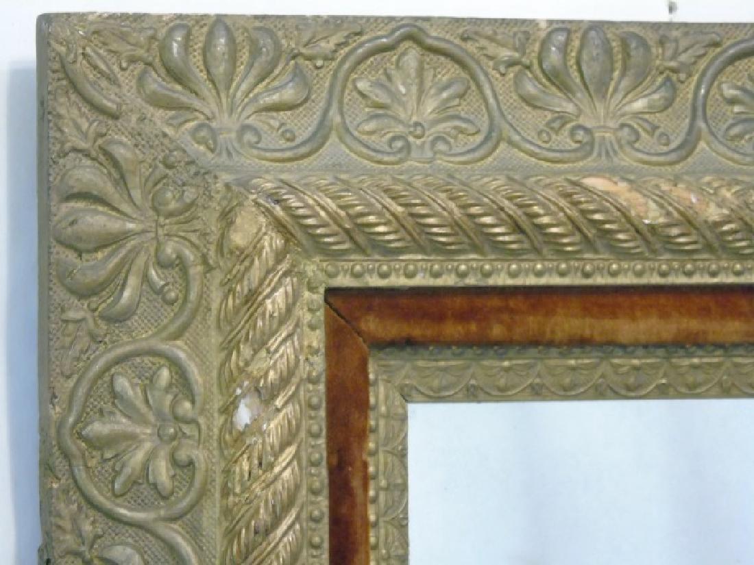 Antique 19th C Victorian Gold Leaf & Velvet Mirror - 2