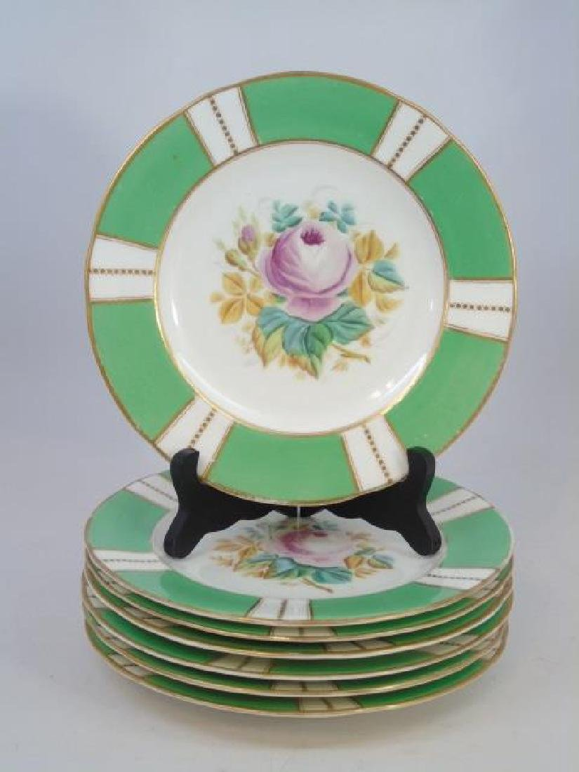 Set Antique Hand Painted Floral Motif Dinner Plate