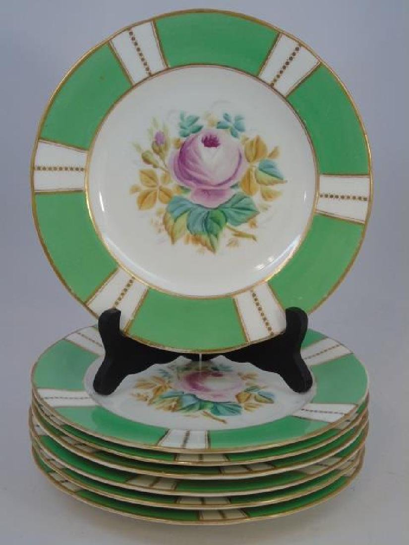 Set Antique Hand Painted Floral Motif Dinner Plate - 2