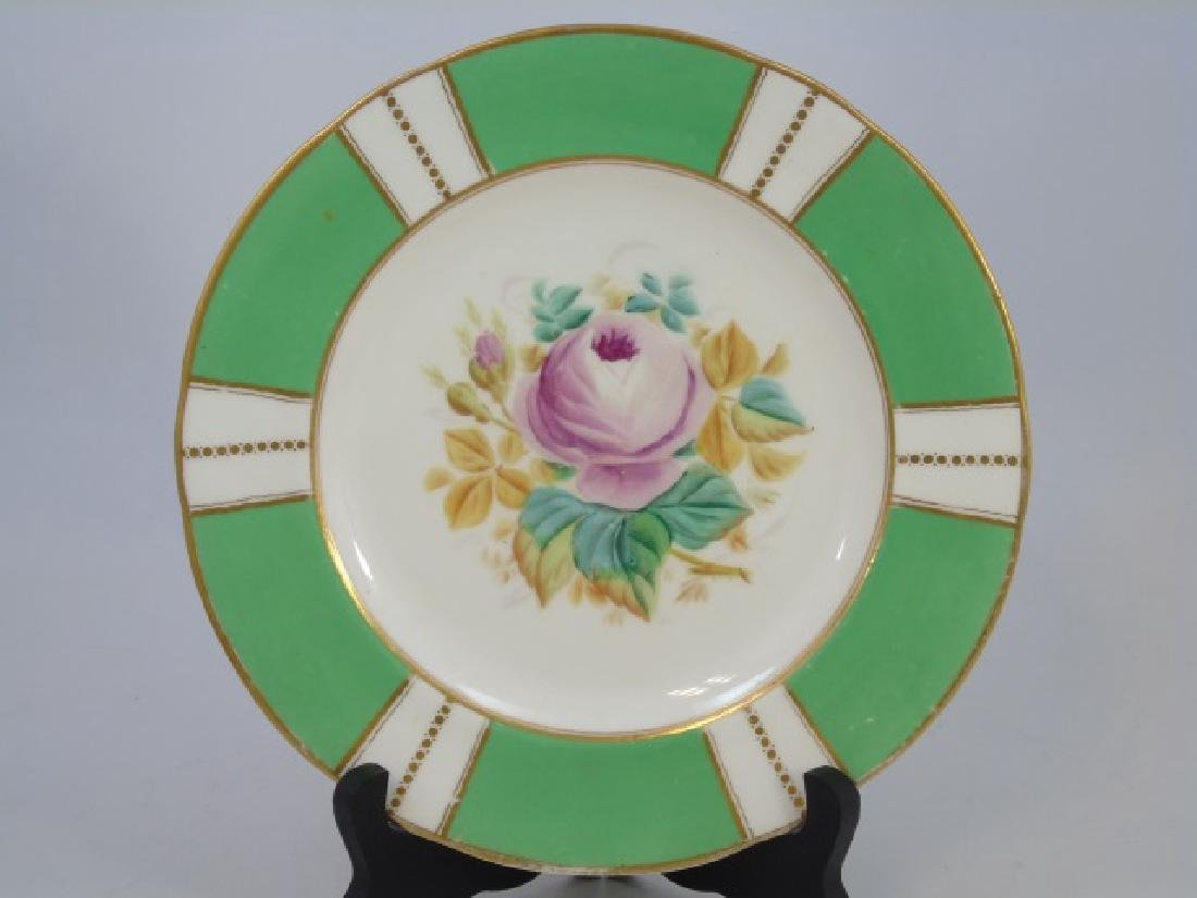 Set Antique Hand Painted Floral Motif Dinner Plate - 3