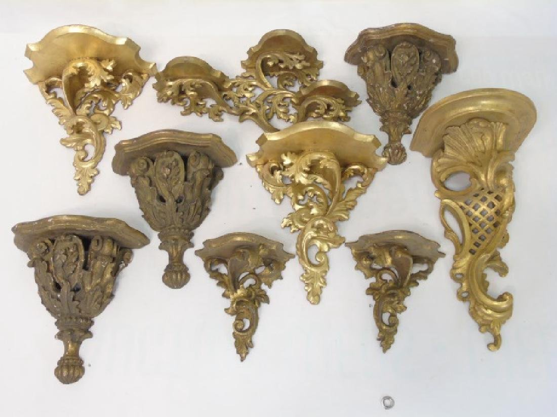 Collection Antique & Vintage Gold Wall Shelves