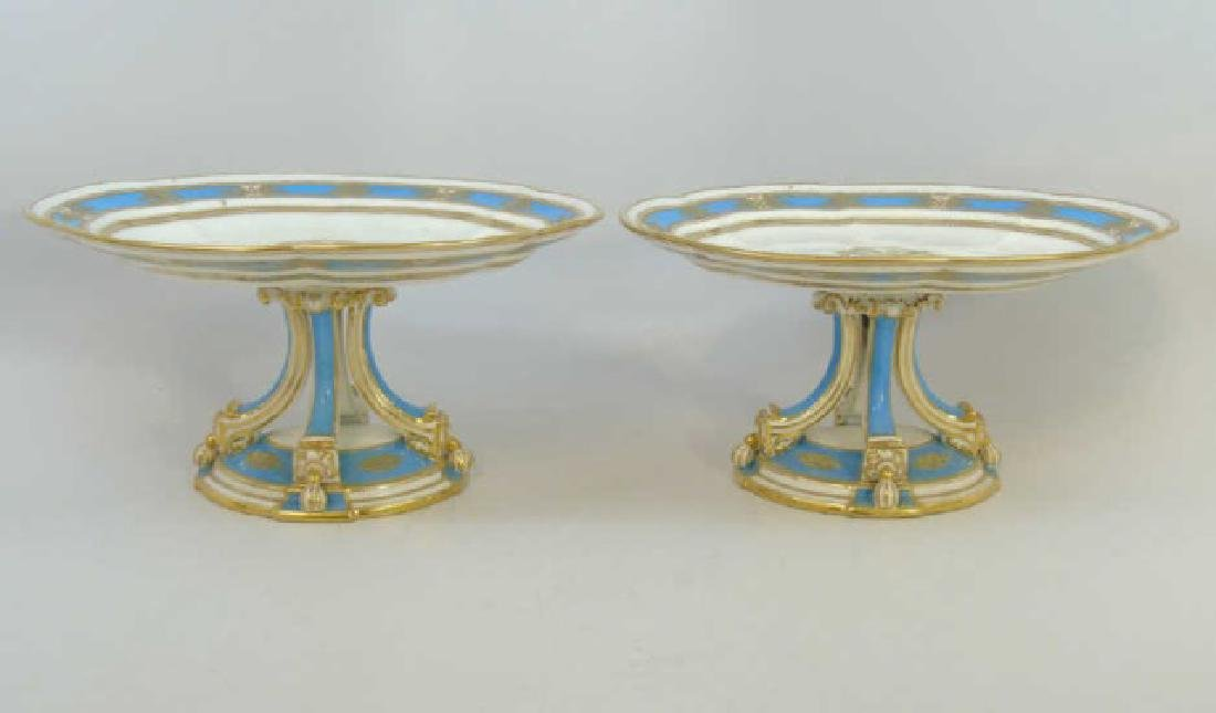Pair Antique Turquoise & Gold Porcelain Compotes