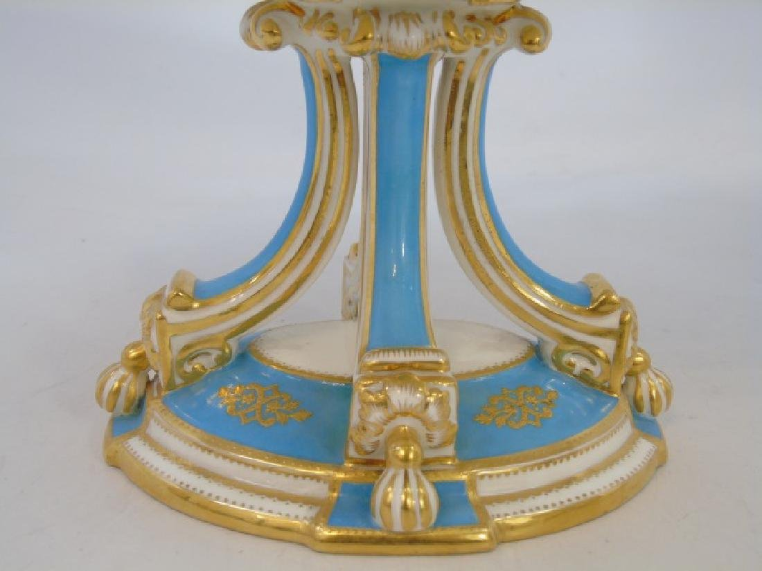 Pair Antique Turquoise & Gold Porcelain Compotes - 4