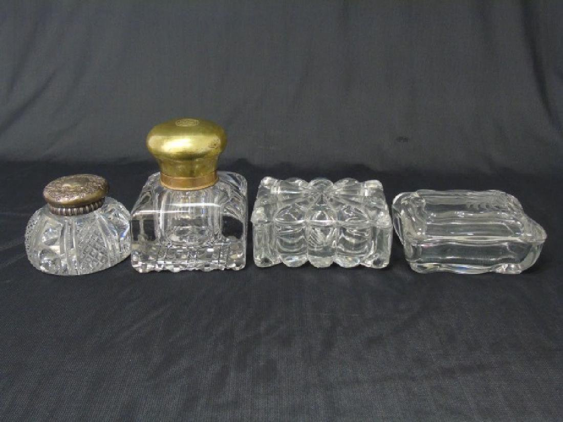 2 Antique 19th C Large Inkwells & 2 Glass Boxes