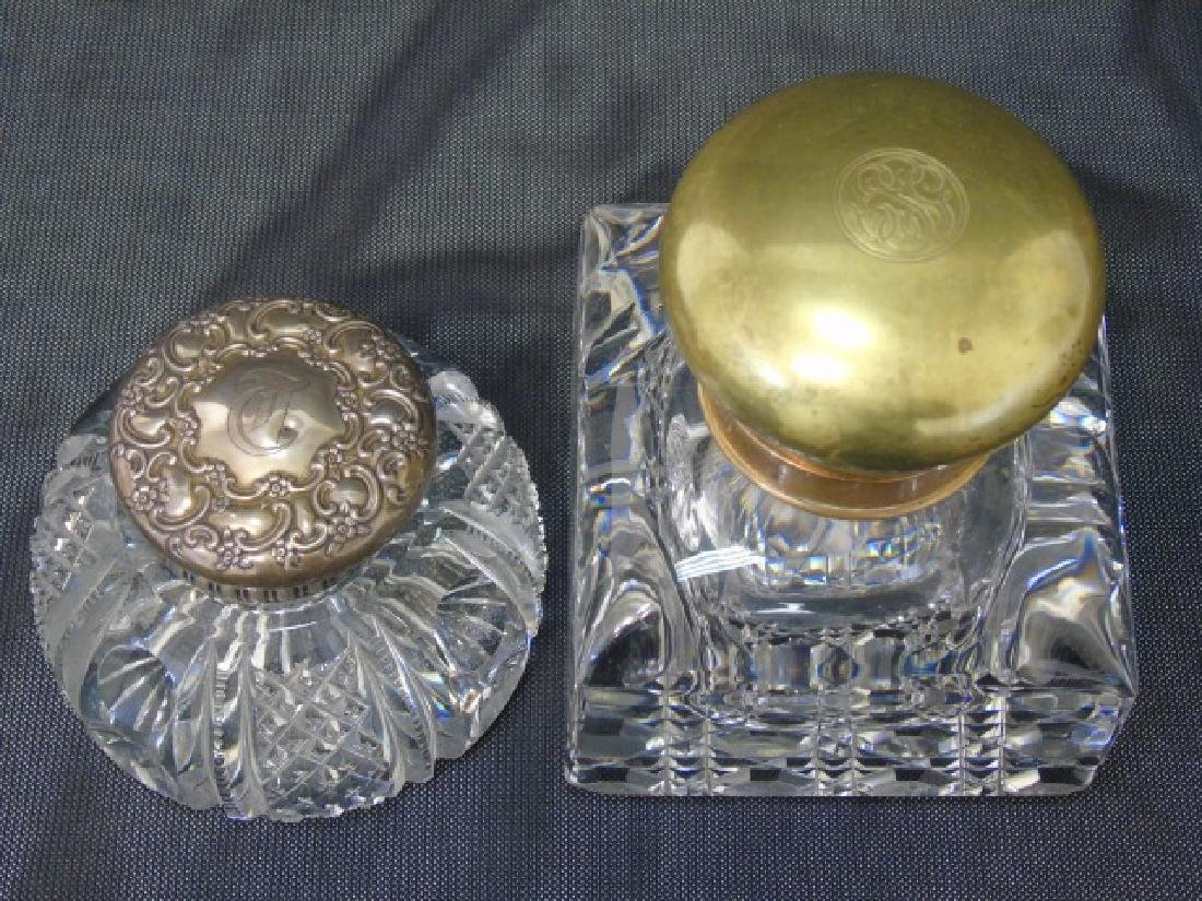 2 Antique 19th C Large Inkwells & 2 Glass Boxes - 3