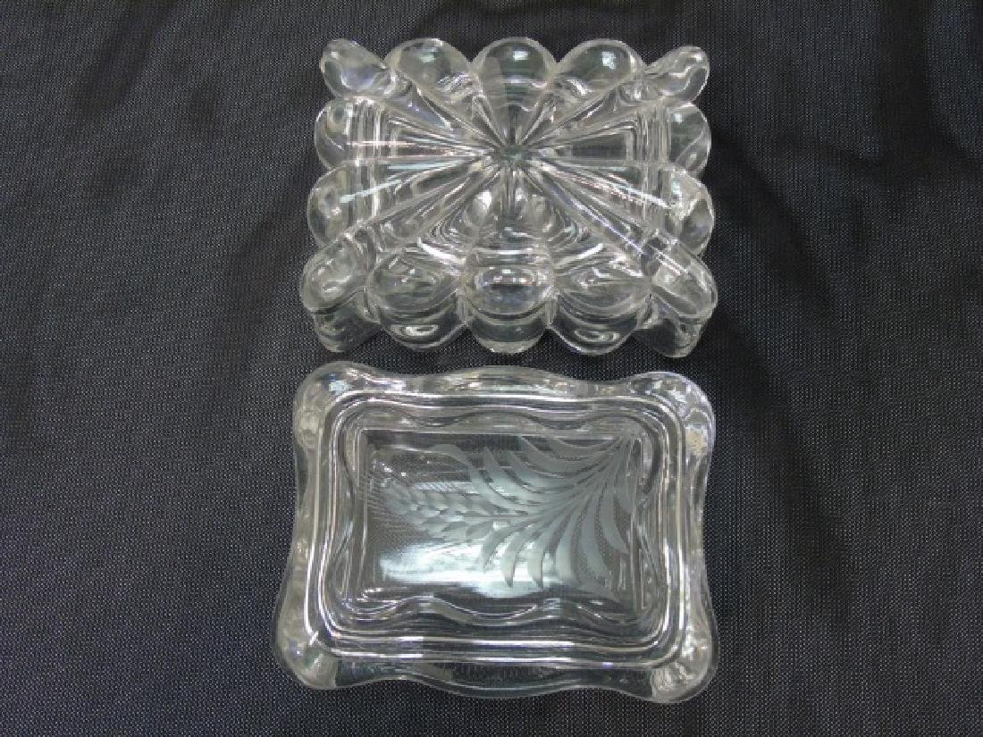 2 Antique 19th C Large Inkwells & 2 Glass Boxes - 5