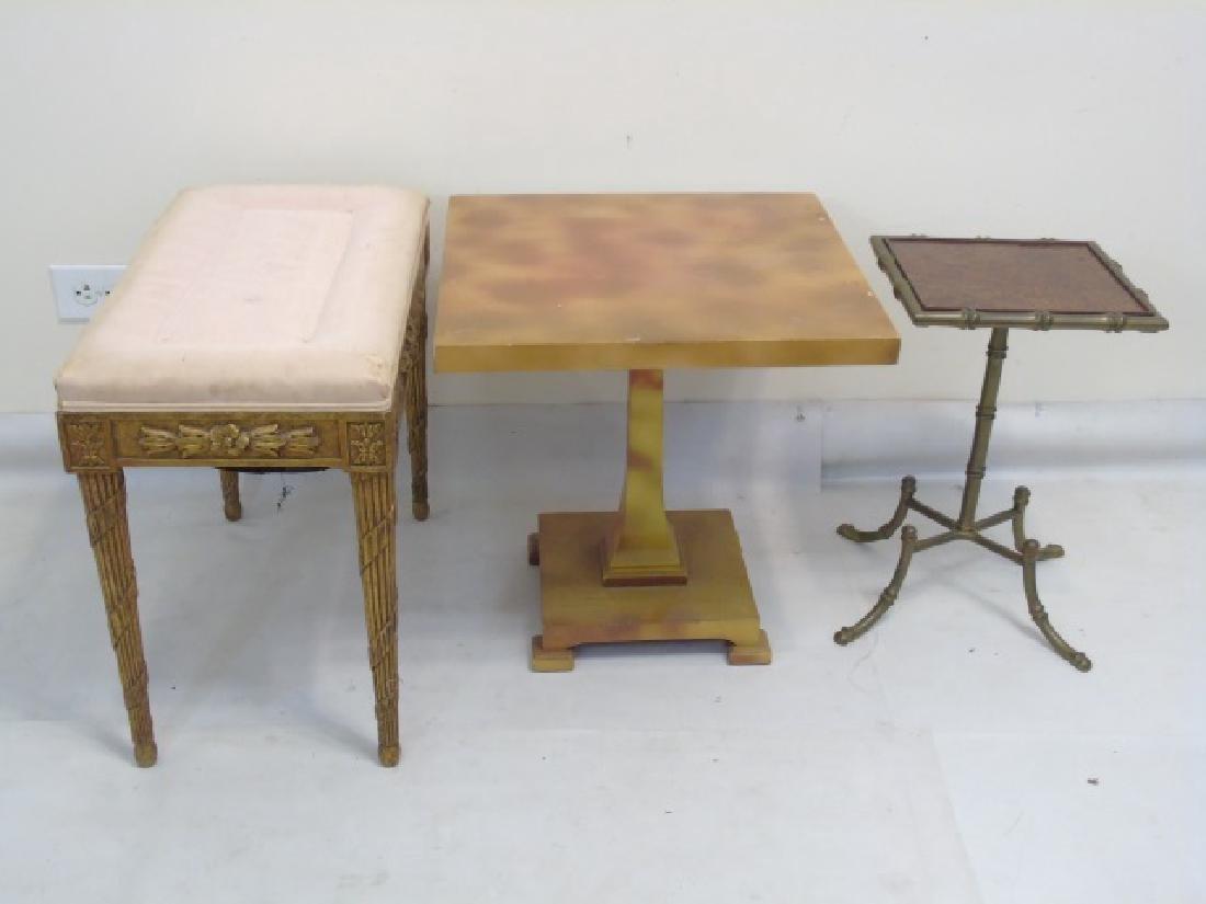 Antique Piano Bench, Pedestal Table & Bamboo Table