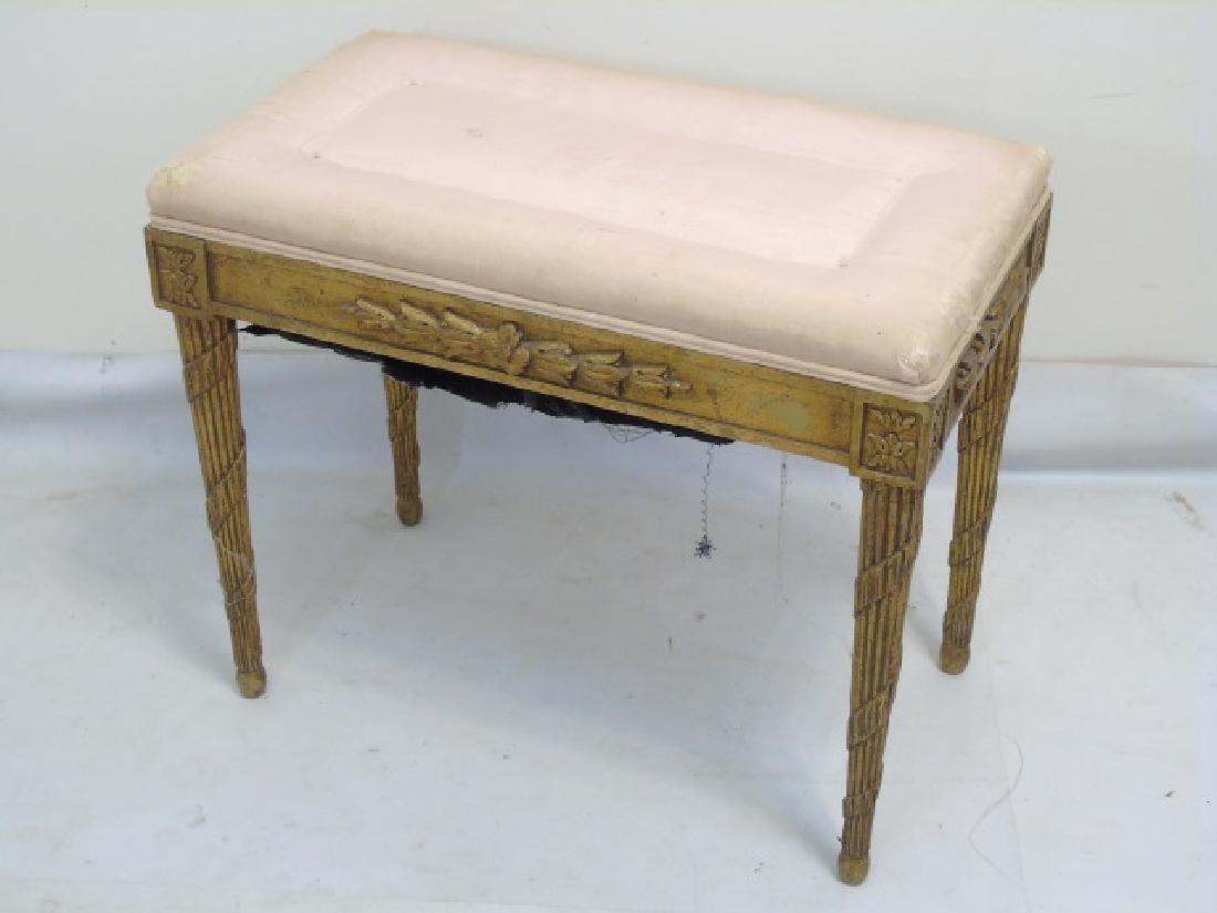 Antique Piano Bench, Pedestal Table & Bamboo Table - 3