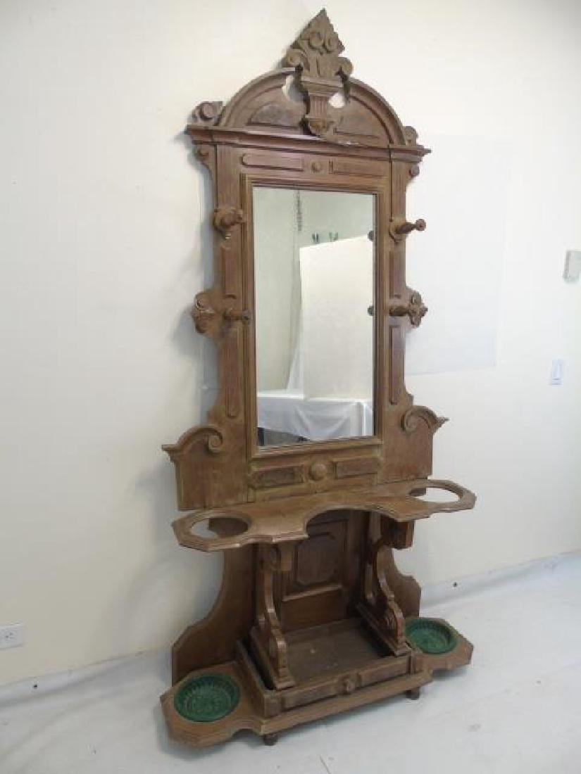 Antique 19th C Hall Stand Console w Mirror