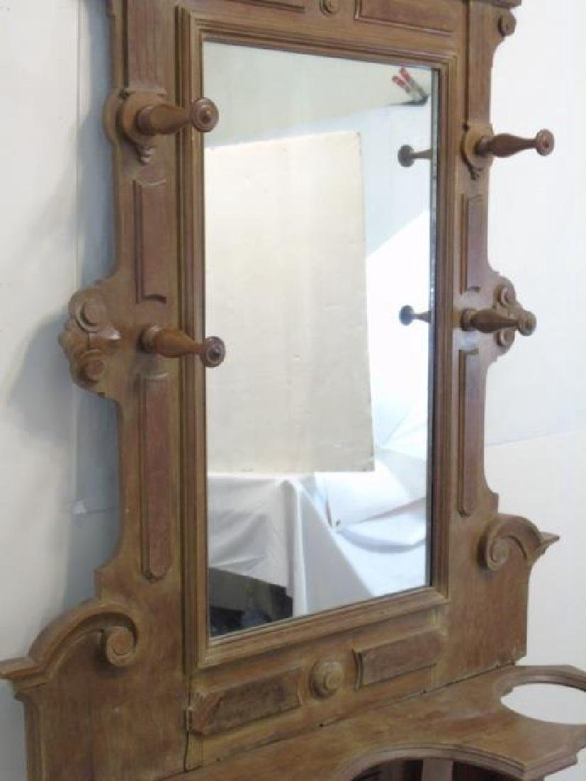 Antique 19th C Hall Stand Console w Mirror - 3