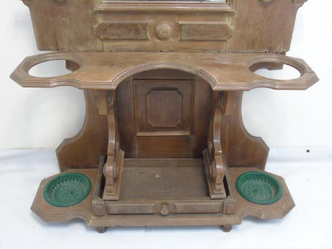 Antique 19th C Hall Stand Console w Mirror - 4