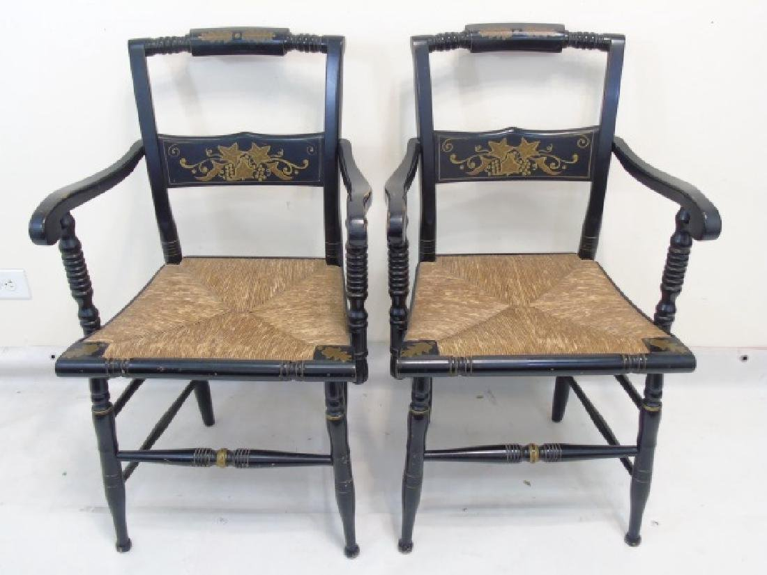 Pair Antique 19th C Hitchcock Wood Arm Chairs