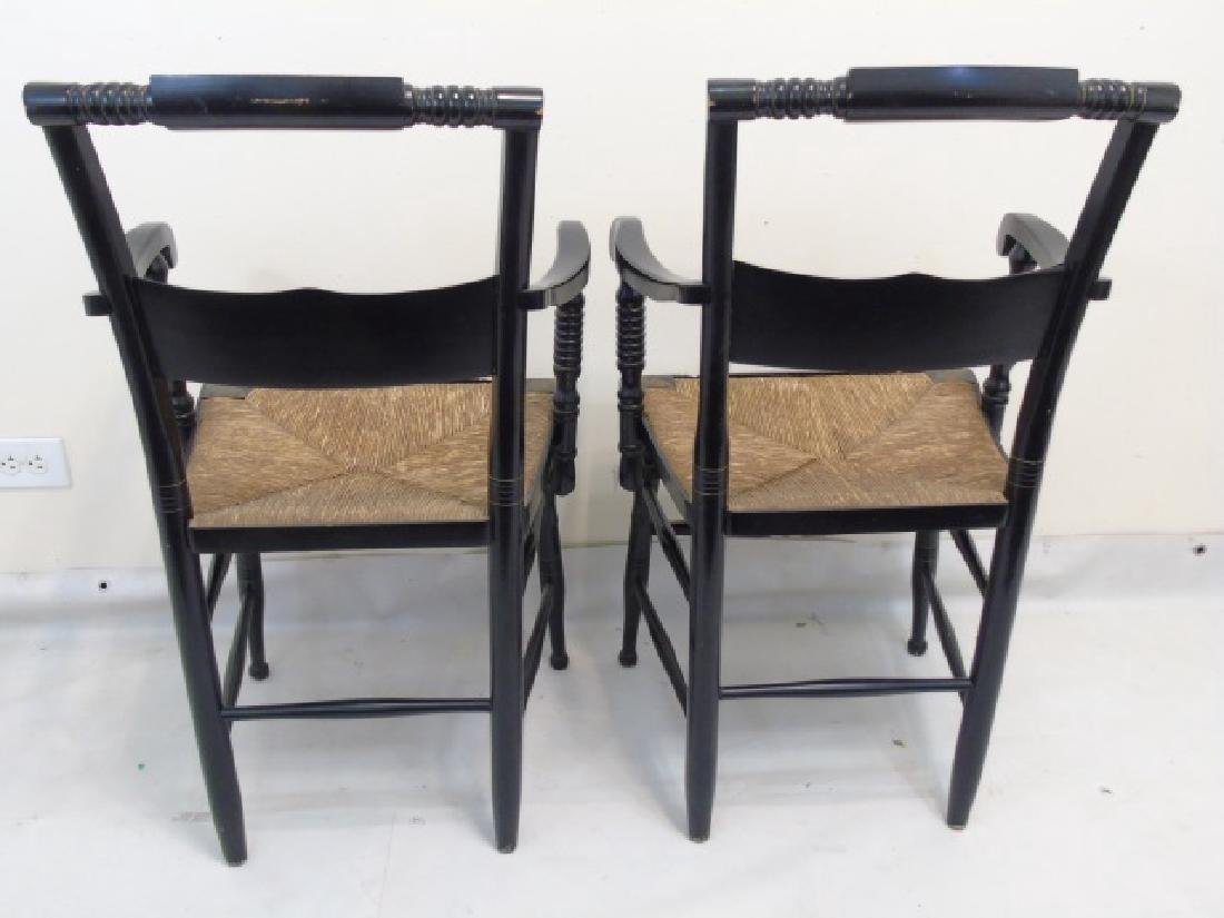 Pair Antique 19th C Hitchcock Wood Arm Chairs - 2
