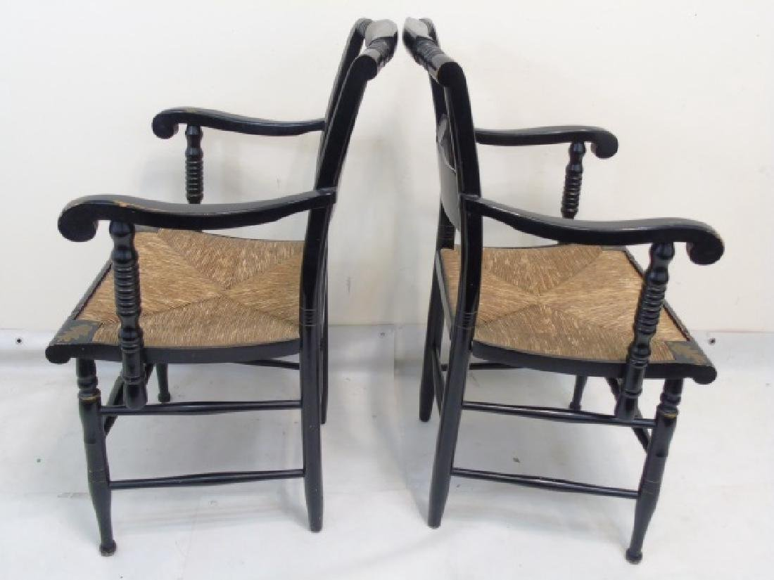 Pair Antique 19th C Hitchcock Wood Arm Chairs - 3