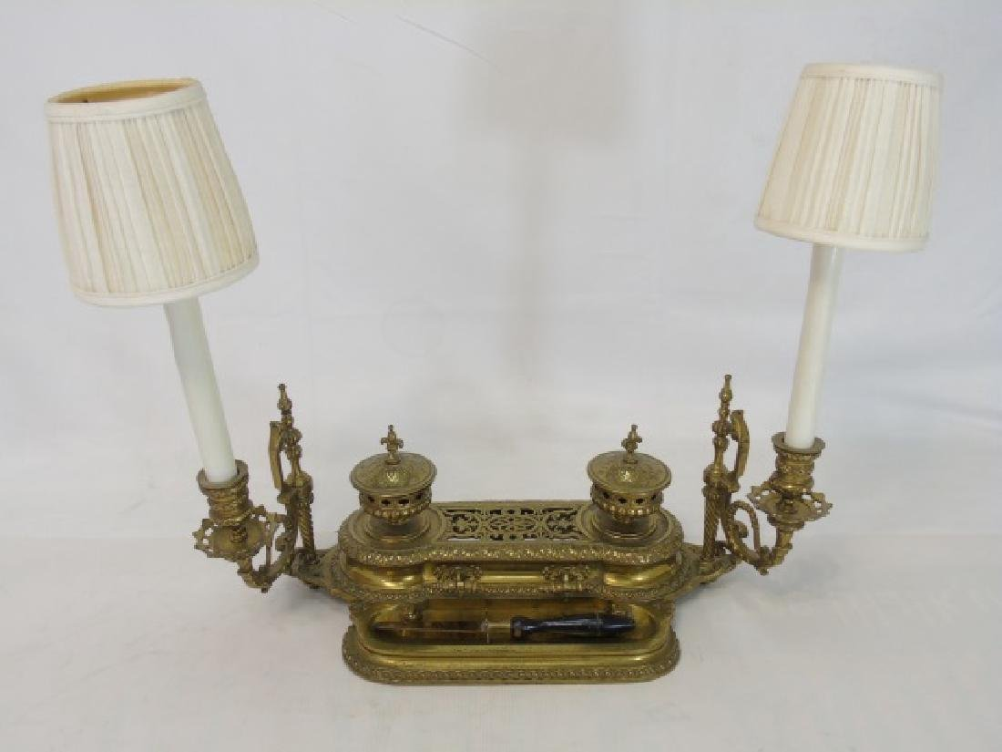 Antique Victorian Ormolu Double Inkwell w/ Lamp