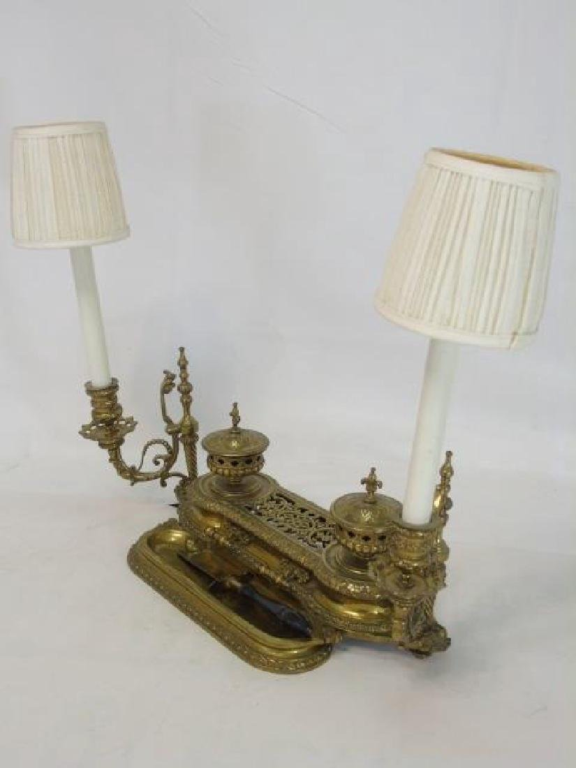 Antique Victorian Ormolu Double Inkwell w/ Lamp - 2