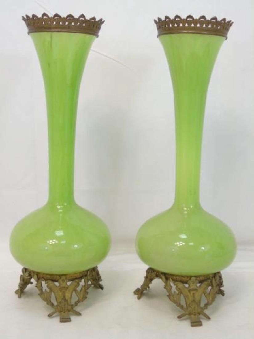 Pair Antique Green Glass Ormolu Bronze Mount Vases