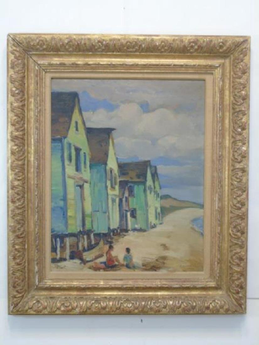 Signed Oil Painting of Beachside Homes on Stilts