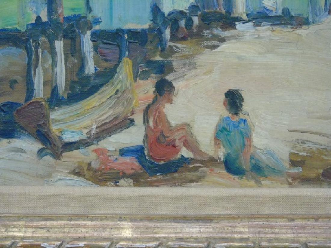 Signed Oil Painting of Beachside Homes on Stilts - 3