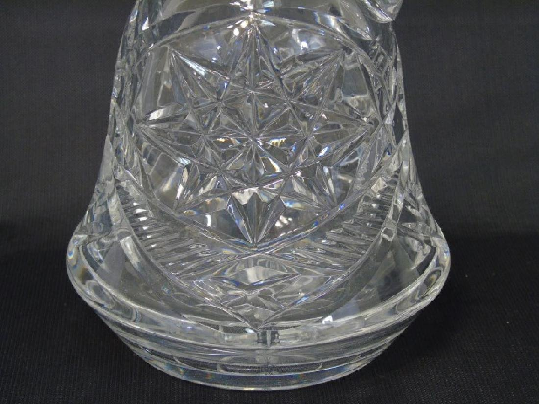 Cut Glass Handled Decanter with Faceted Stopper - 2