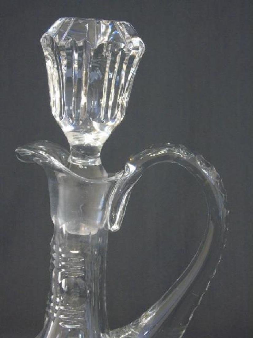 Cut Glass Handled Decanter with Faceted Stopper - 3