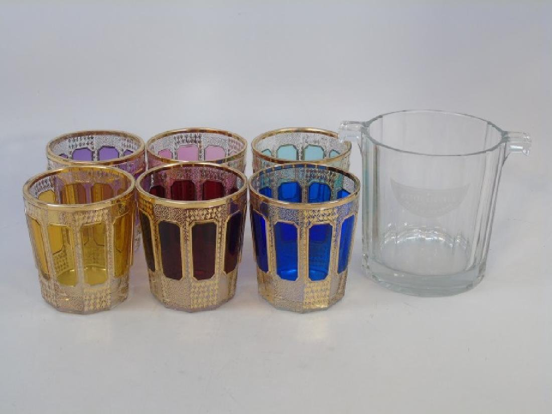 6 Colorful Bohemian Glass Tumblers and Ice Bucket