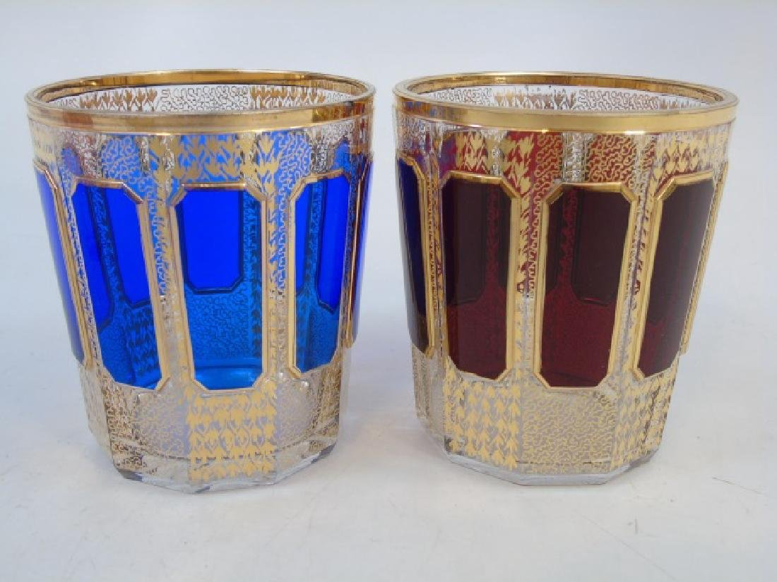 6 Colorful Bohemian Glass Tumblers and Ice Bucket - 3