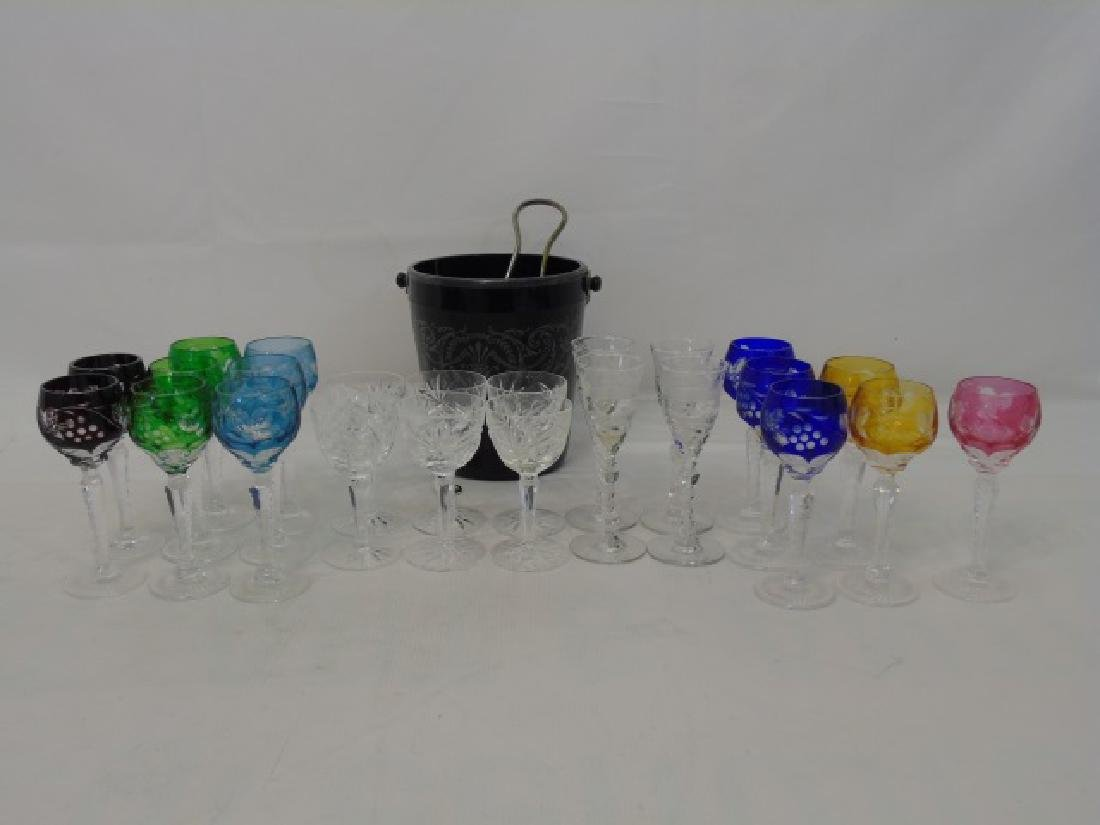 24 Bohemian & Etched Glass Cordials & Ice Bucket