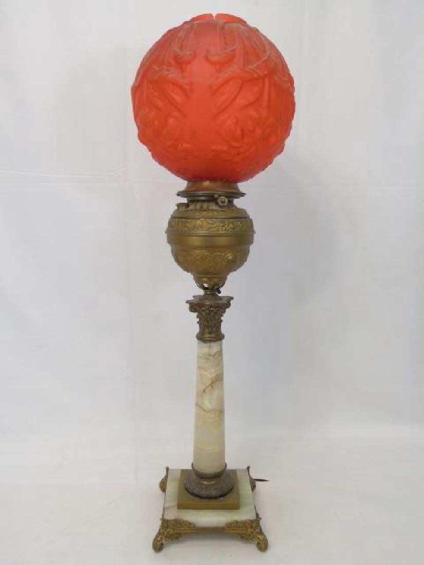 Onyx & Ormolu Lamp with Ruby Glass Balloon Shade