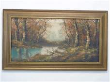 Oil on Canvas Signed Silvana Mid Century Fall Pntg