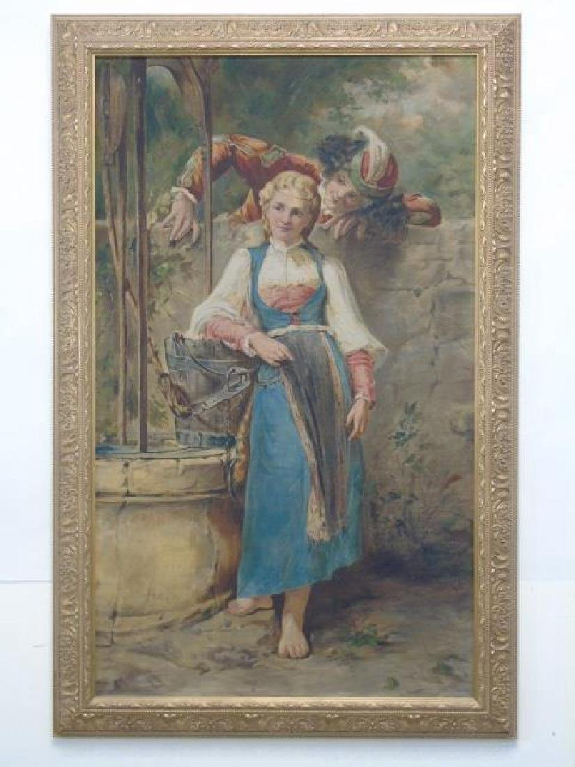 Oil Painting on Canvas of 18th C Scene with Maiden