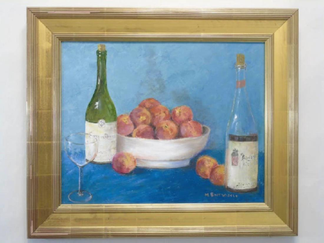 Still Life with French Wine & Fruit in Gold Frame
