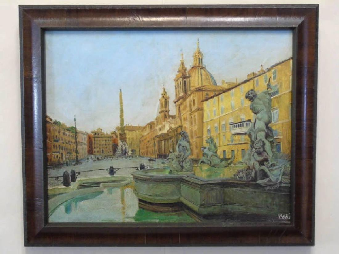 Signed Framed Painting of Fountain in Rome
