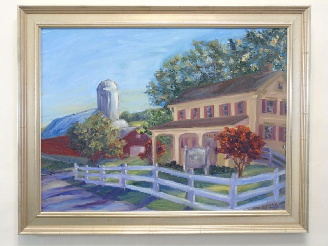 Signed Painting of a Rural Farmhouse