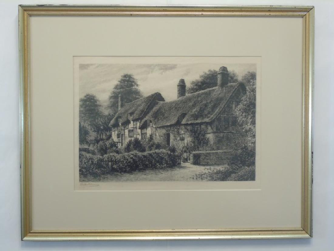 Large Signed Etching of Cotswold Cottages