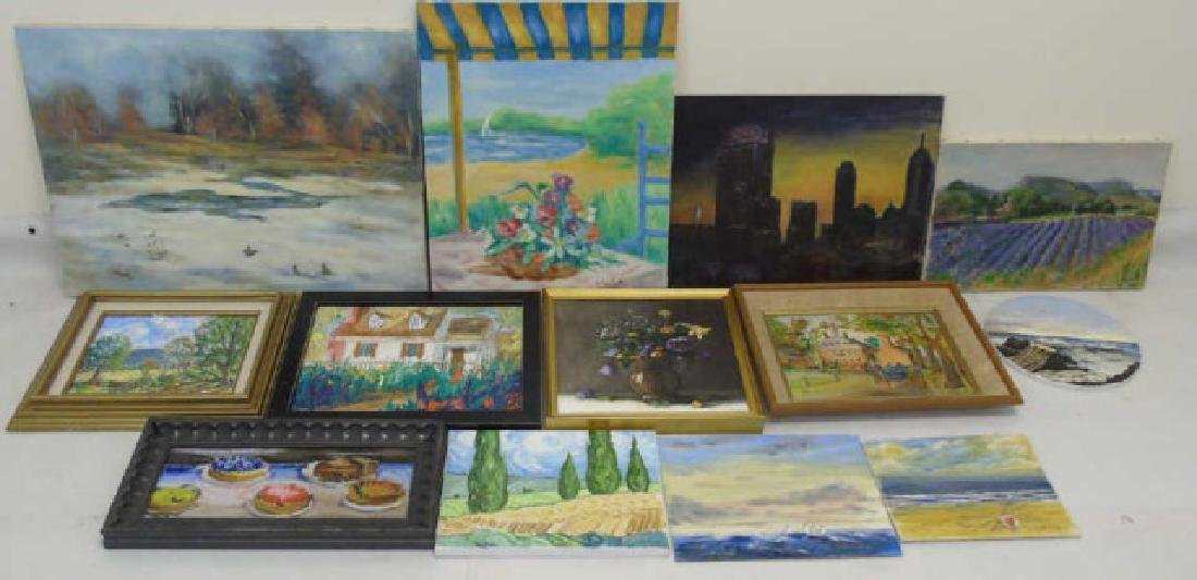 Collection of Colorful Paintings, Canvas & Wood