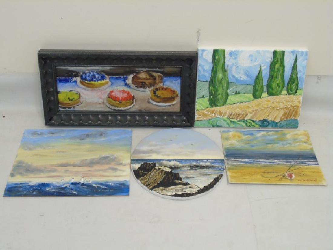 Collection of Colorful Paintings, Canvas & Wood - 2