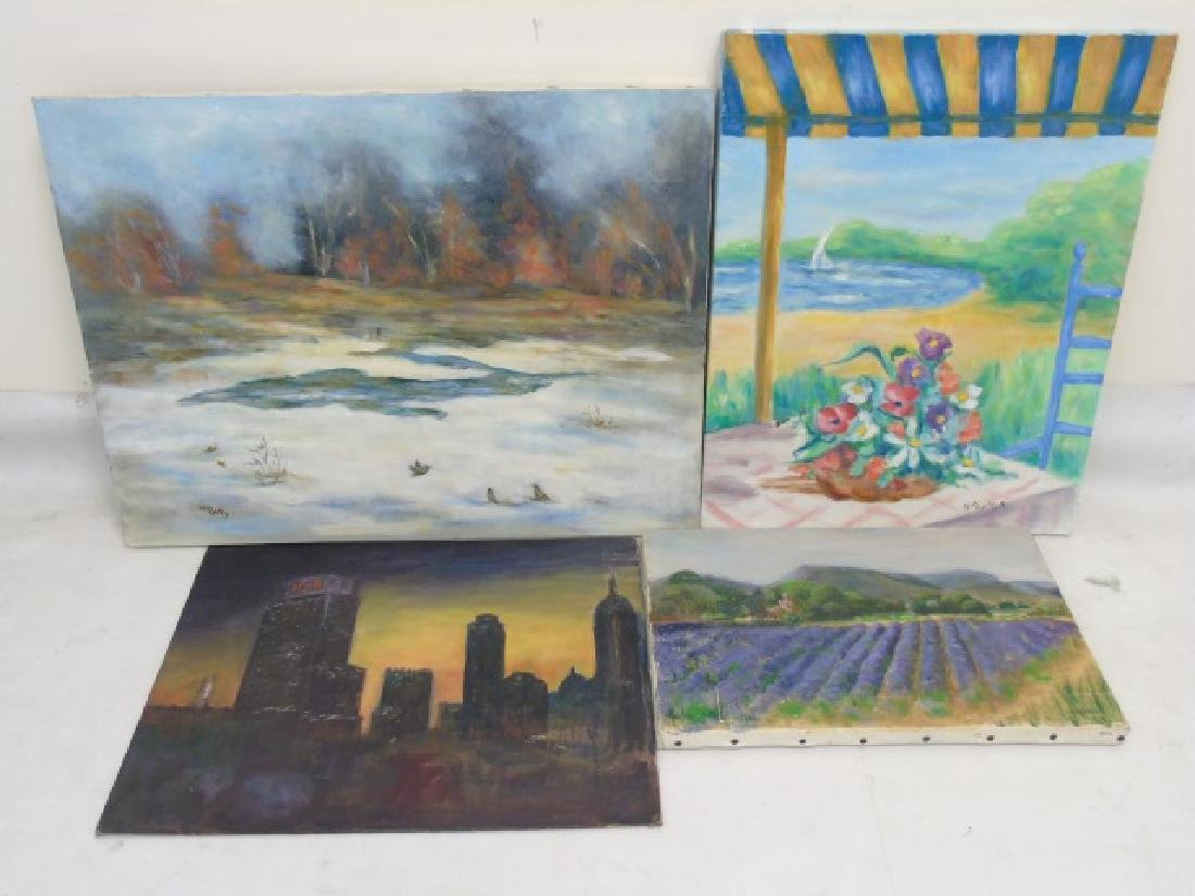 Collection of Colorful Paintings, Canvas & Wood - 3