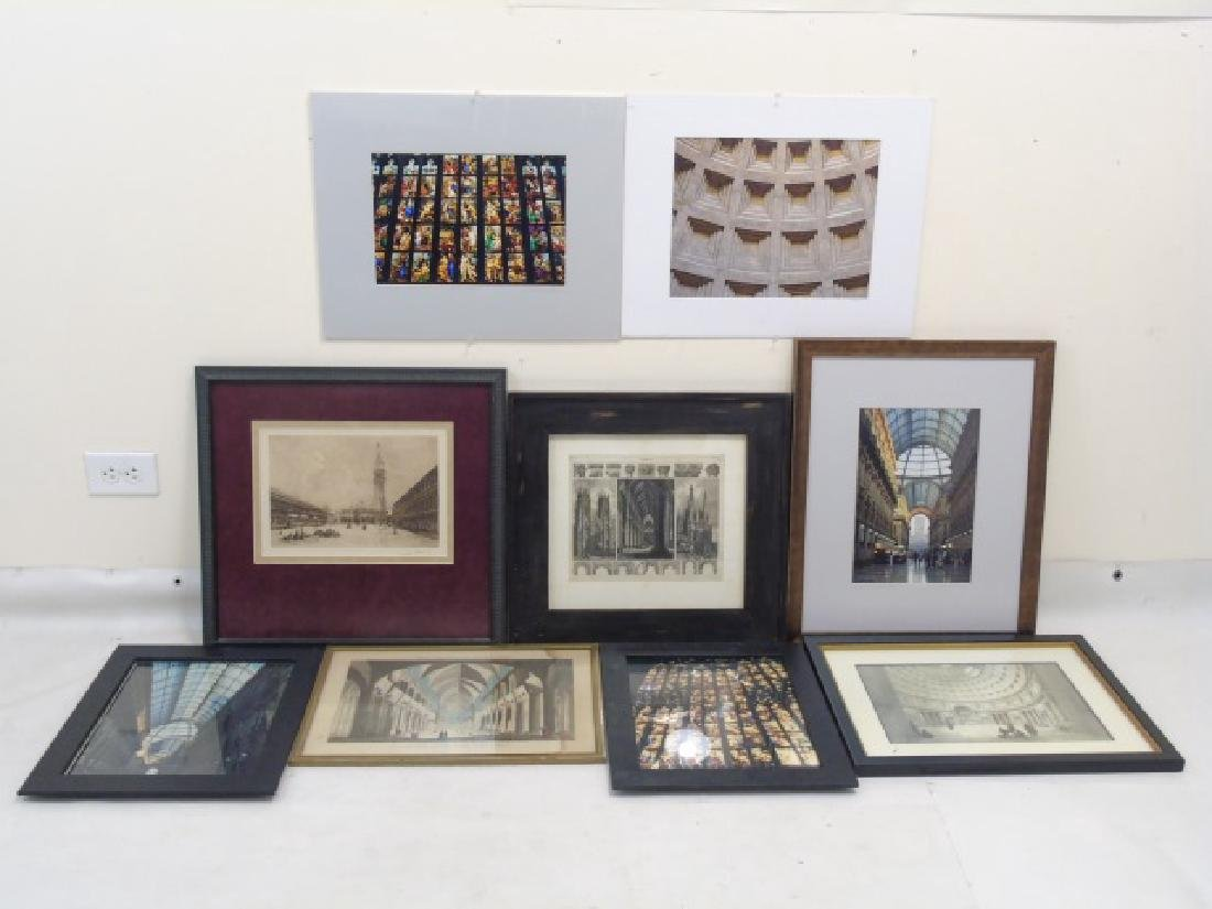 Collection of 9 Pieces with Architectural Subjects