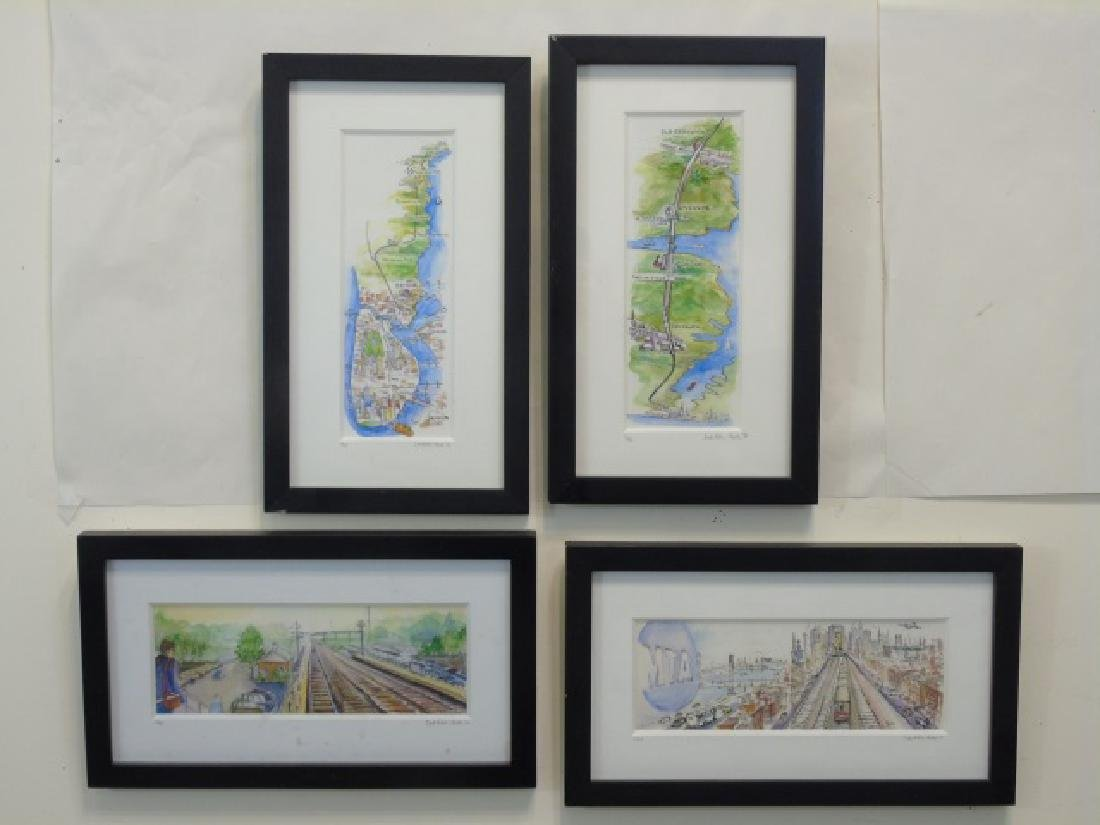 4 Metro-North Commuter Signed Colored Sketches